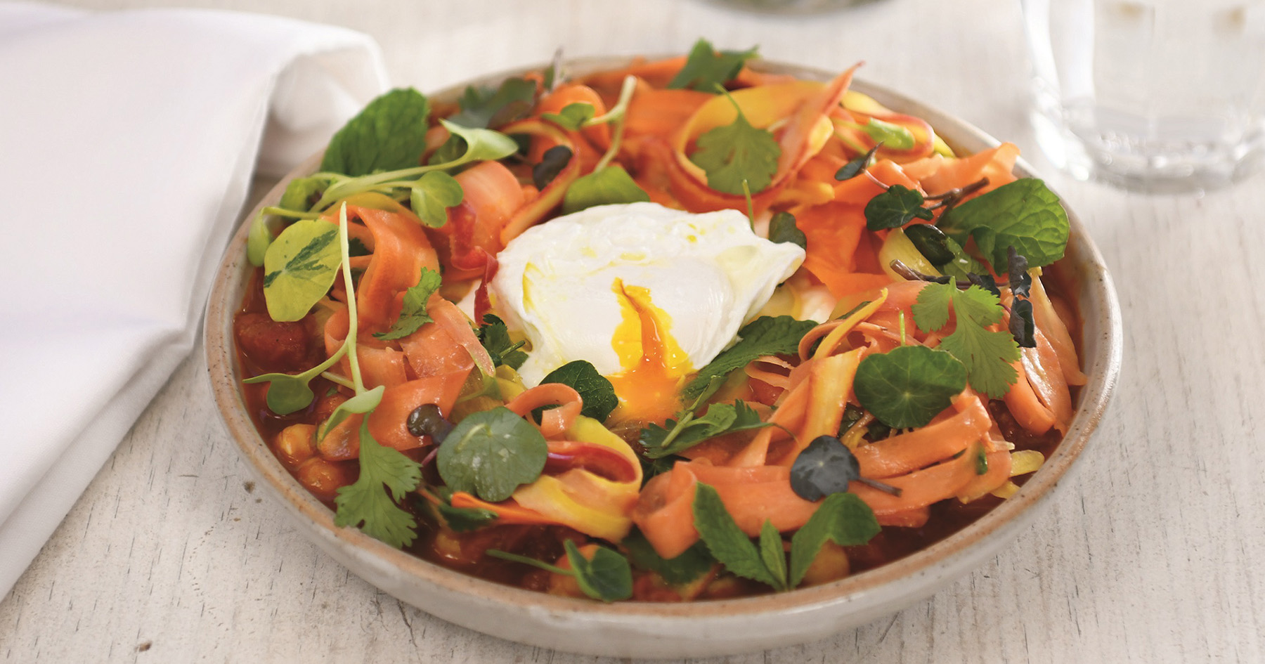 Chickpeas with Spiced Tomato Sauce, Carrot & Preserved Lemon Salad and Poached Eggs