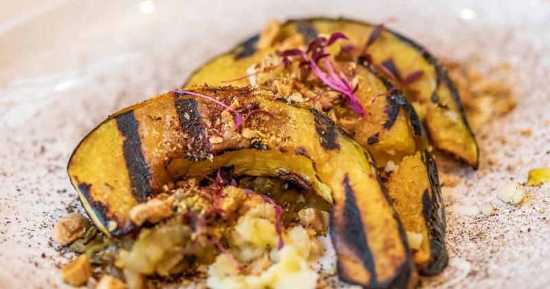 Grilled Acorn Squash with Almonds and Melted Fennel and Leeks