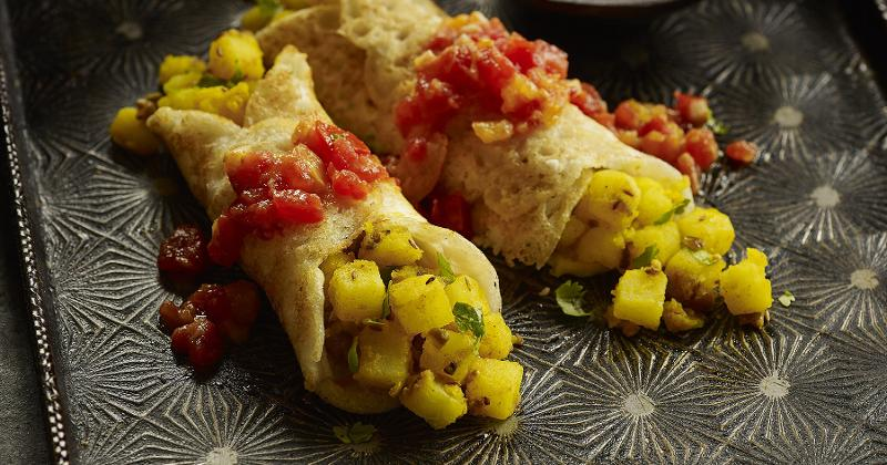 Mung Bean Crepes Stuffed with Spicy Potatoes
