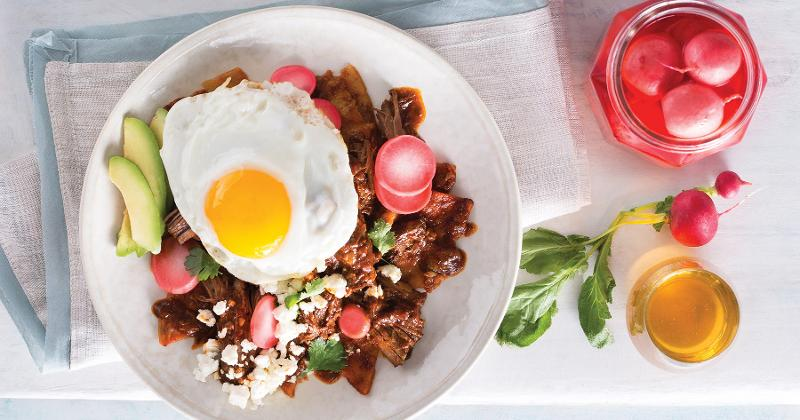 Coffee Braised Chilaquiles with Honey Pickled Radishes