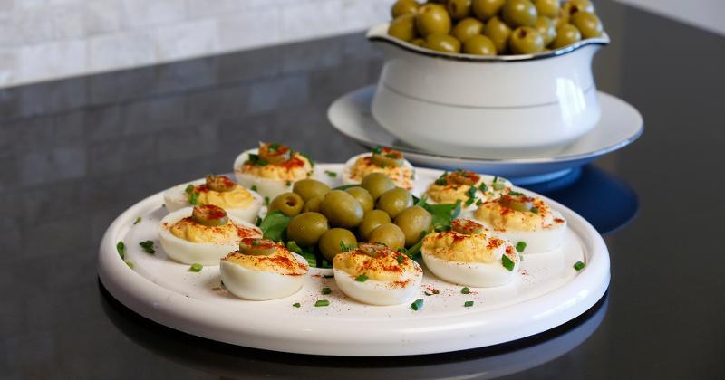Olive-Crowned Deviled Eggs