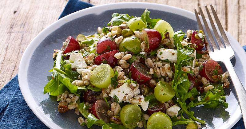 Farro Salad with Grapes, Pistachios and Feta