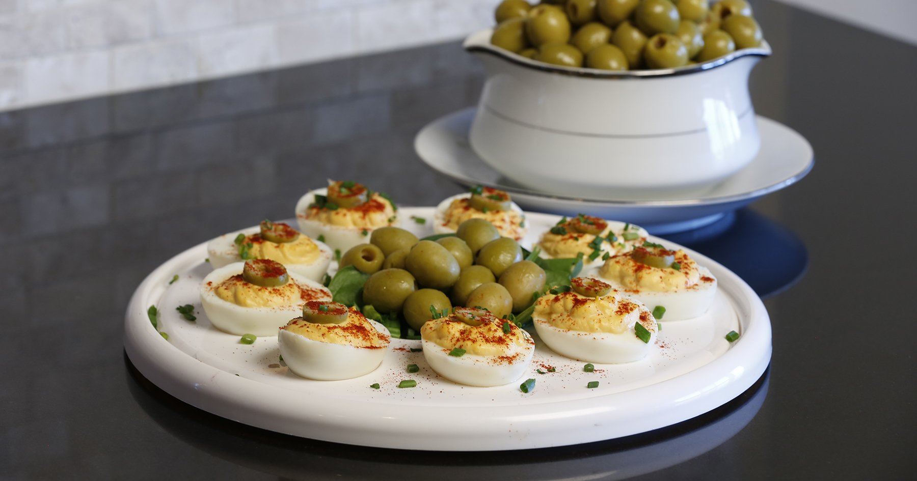 Olive-Crowned Deviled Eggs