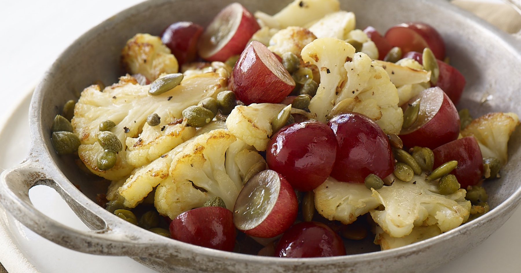 Roasted Cauliflower with Red Grapes
