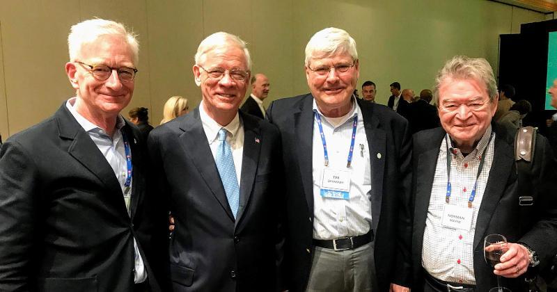 Meijer Inc.'s Hank Meijer (from left);Henry Johnson of W. Lee Flowers & Co., the 2020 recipient of FMI's Herbert Hoover Award; Norman Mayne of Dorothy Lane Market; and Highland Park Market's Tim Devanney