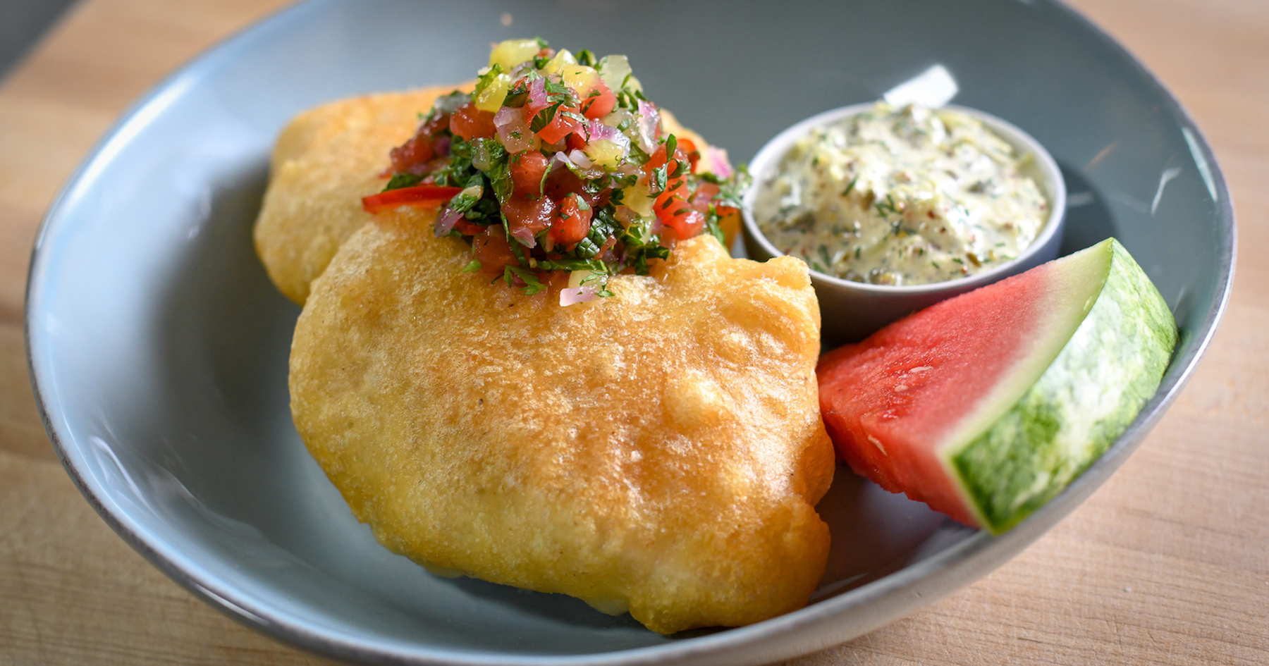 fried cod with diced watermelon chutney
