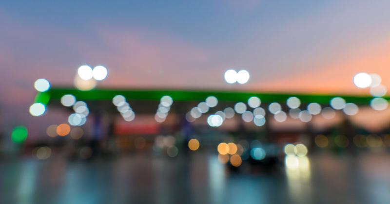 Gas station out of focus