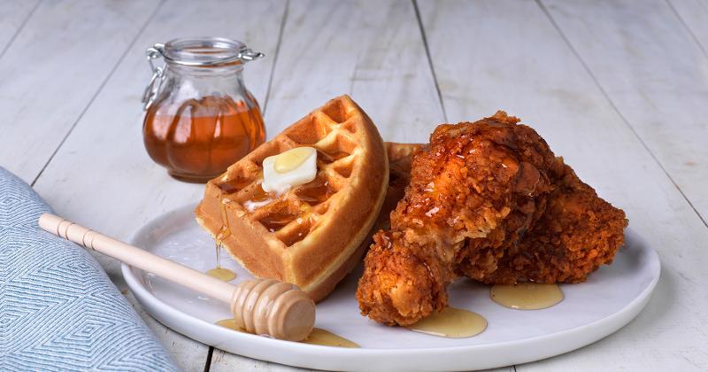 Spicy Honey Glazed Fried Chicken with Buttermilk Waffles