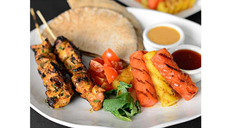 Glazed Moroccan Chicken Kebabs With Grilled Watermelon