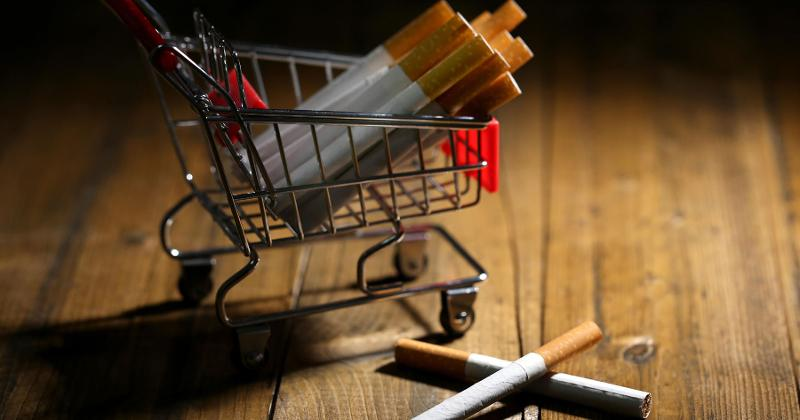 Mini shopping cart with cigarettes