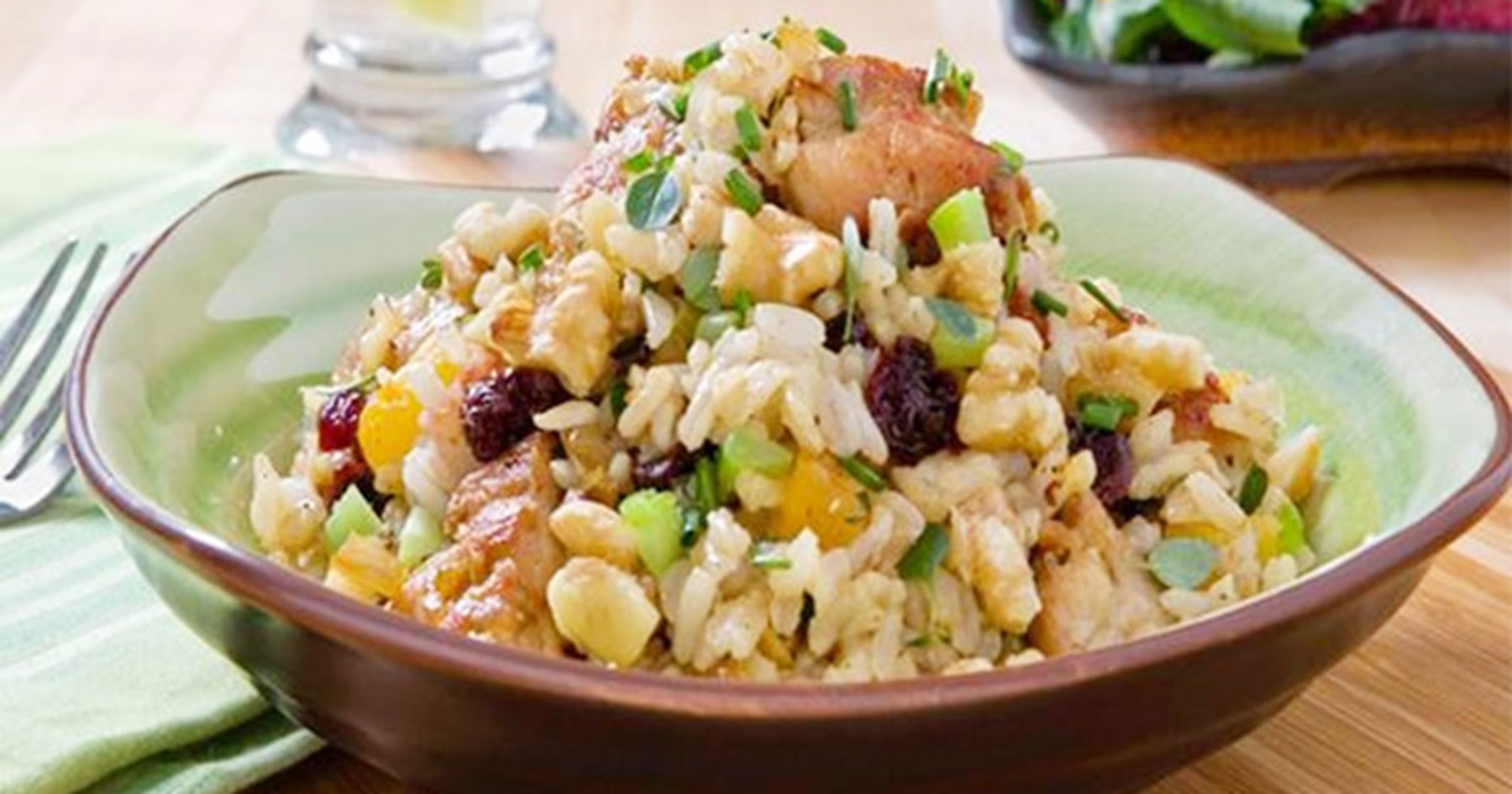 chicken walnut brown rice stir fry
