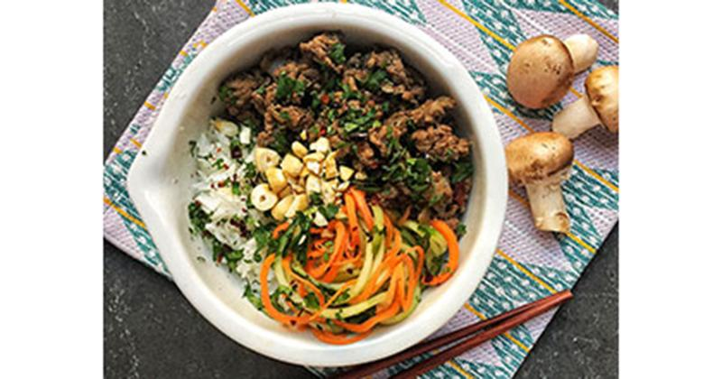 Blended Asian Beef Bowl with Cucumber-Carrot Salad