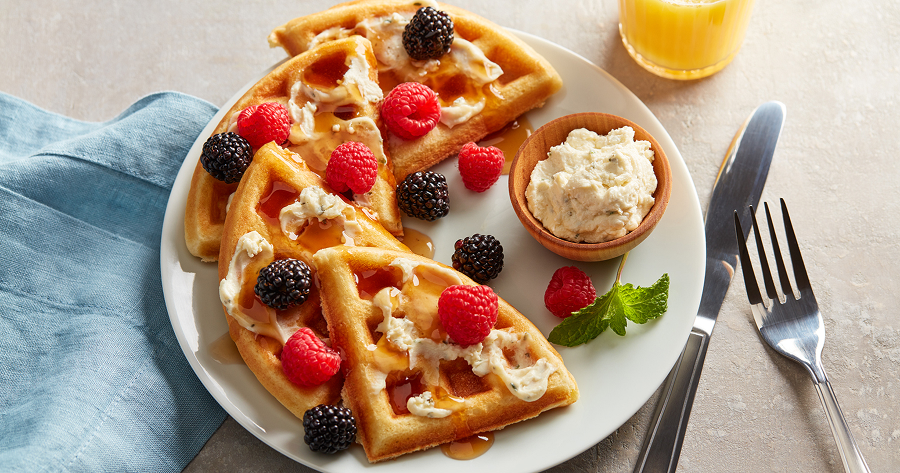Savory Waffles with Whipped Cheese and Berries
