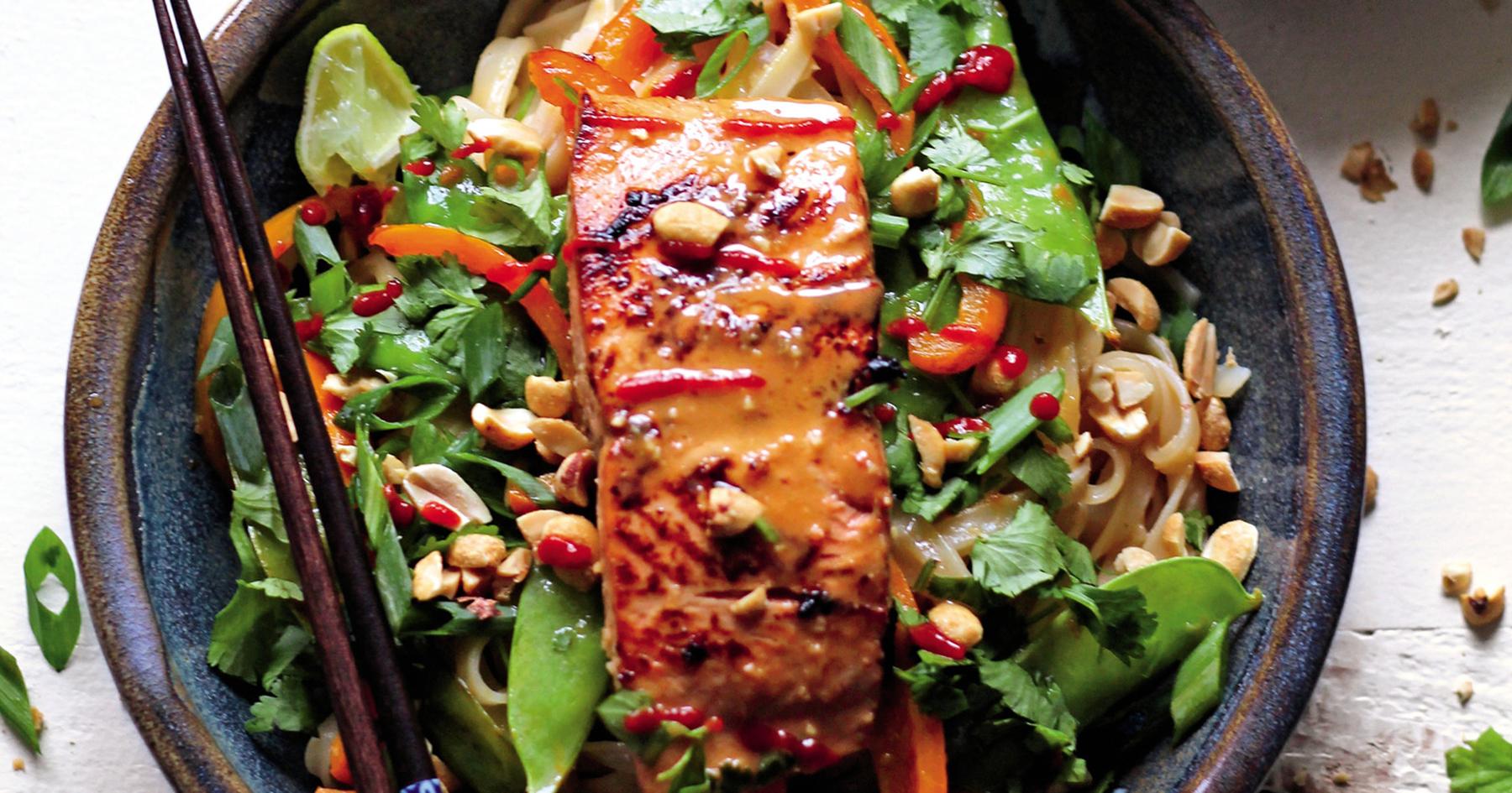 Ginger Peanut Alaska Salmon Noodle Bowl