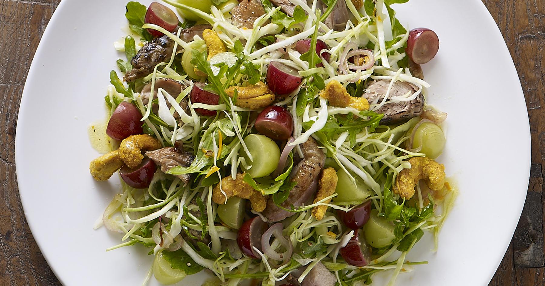 Warm Grape Crispy Duck Salad
