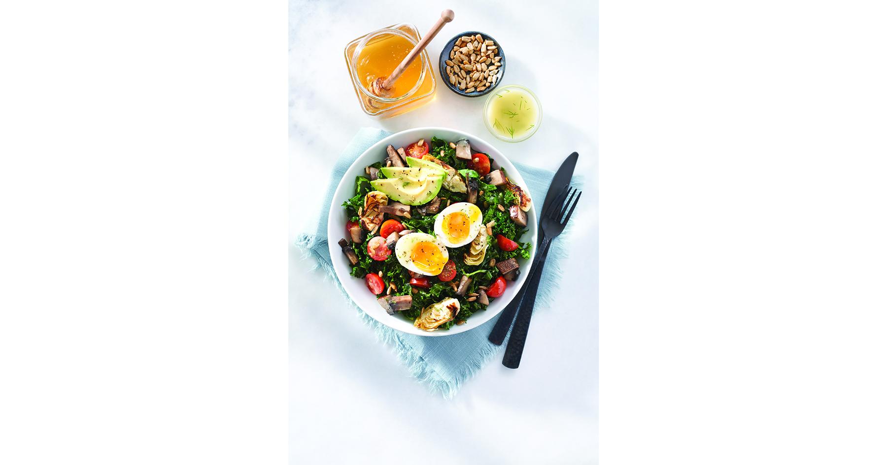 Honey Kale and Avocado Breakfast Salad