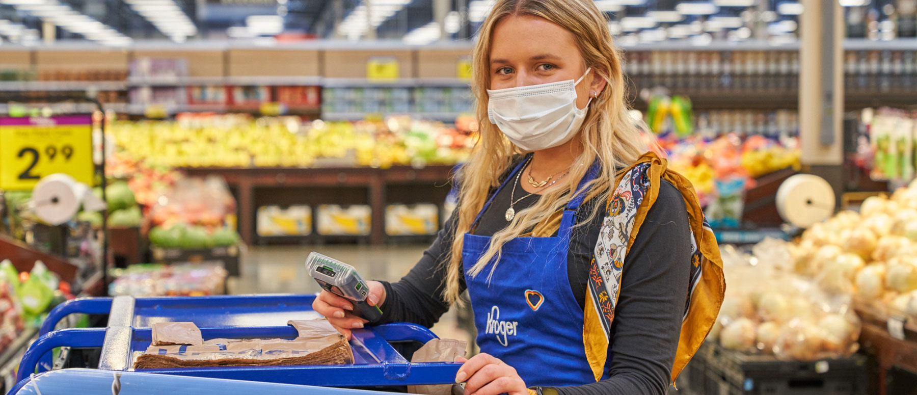 Kroger worker wearing mask