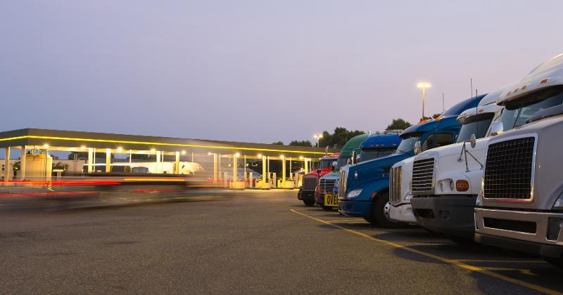 gas station and trucks