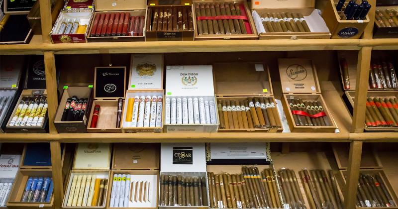 shelves filled with cigars