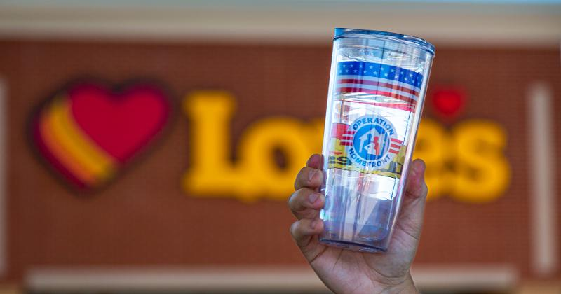 Love's shop with a cup in front of the logo