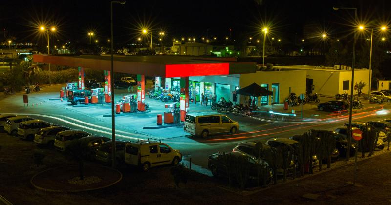 gas station open at night
