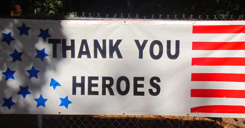 Thank you heros sign