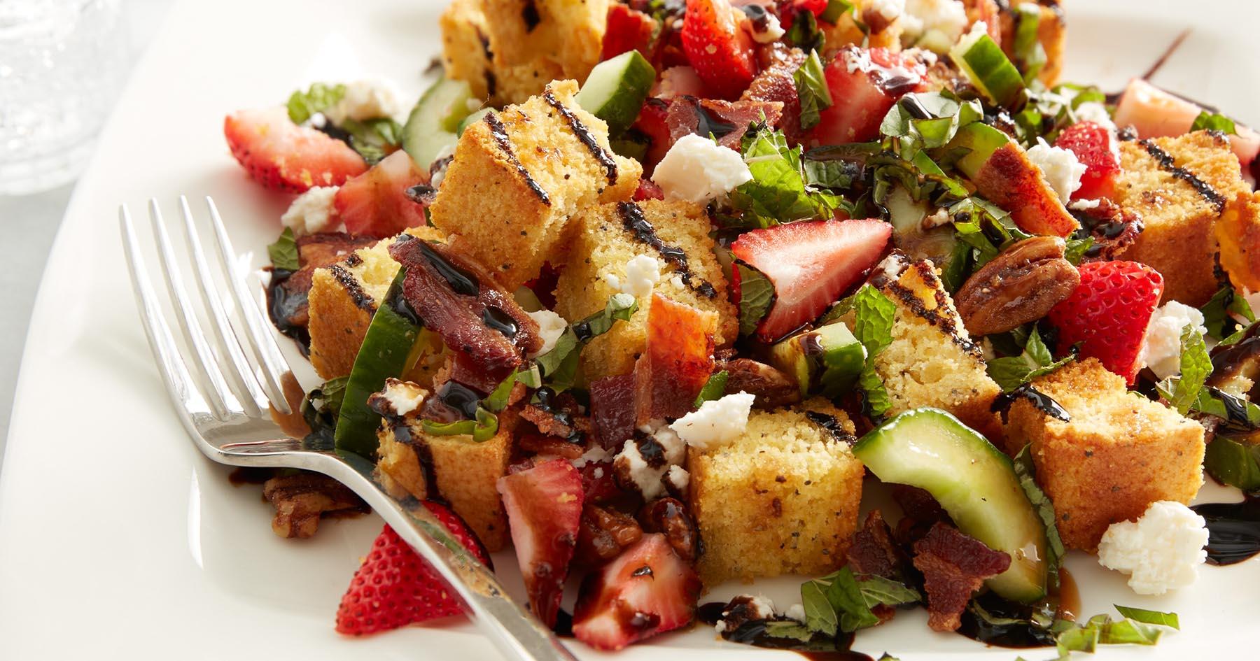 Strawberry Cornbread Panzanella