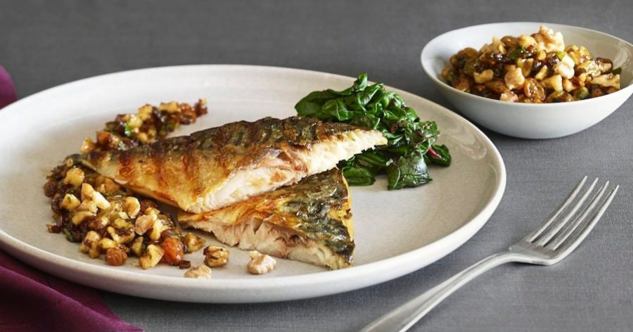 Grilled Mackerel with Walnut Agrodolce