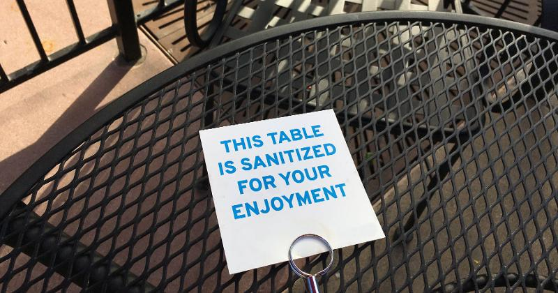 sanitized outdoor table