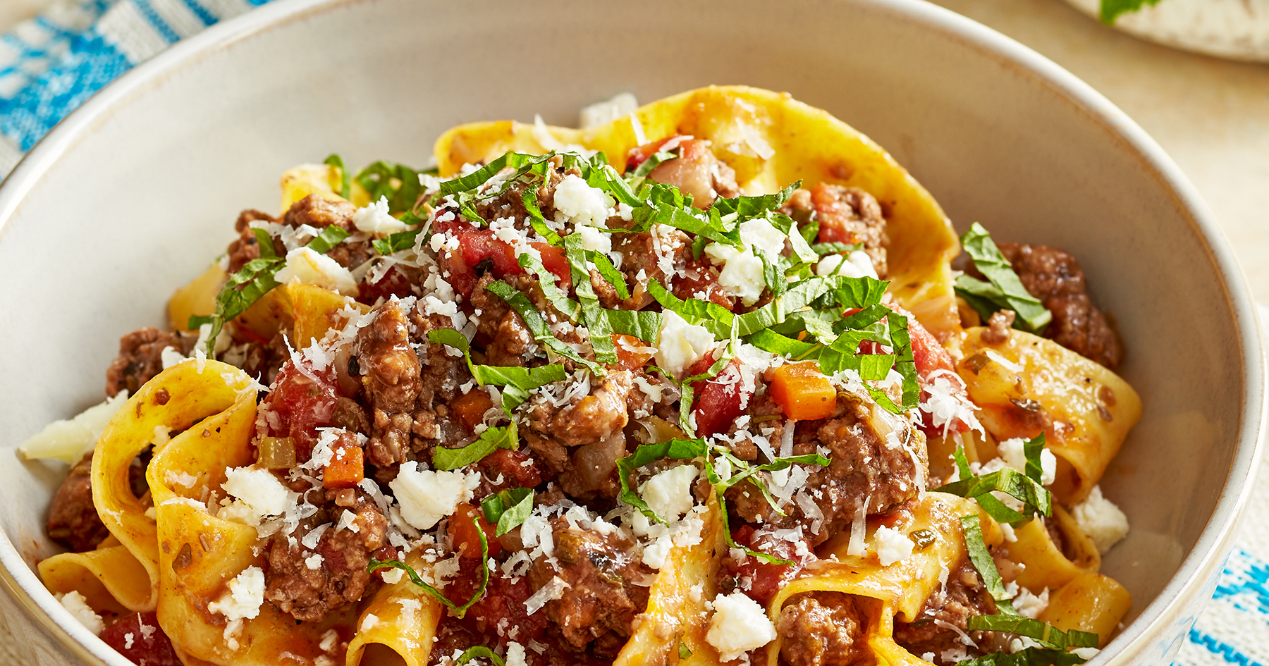 Greek Lamb Pasta with Mint, Feta and Kefalograviera Cheese