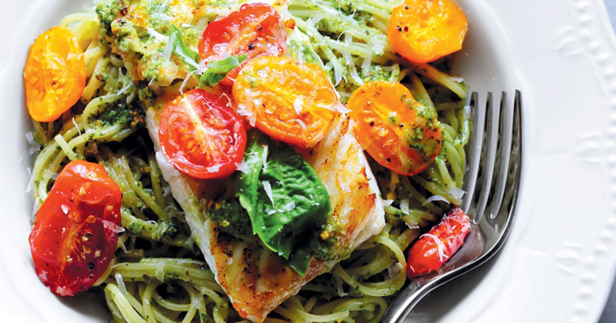 Seared Halibut Pasta with Pistachio Pesto and Roasted Tomatoes