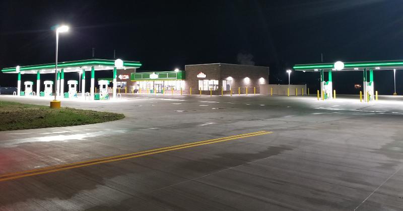 Eddyville Travel Plaza exterior night
