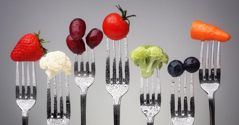 forks with veggies and fruits