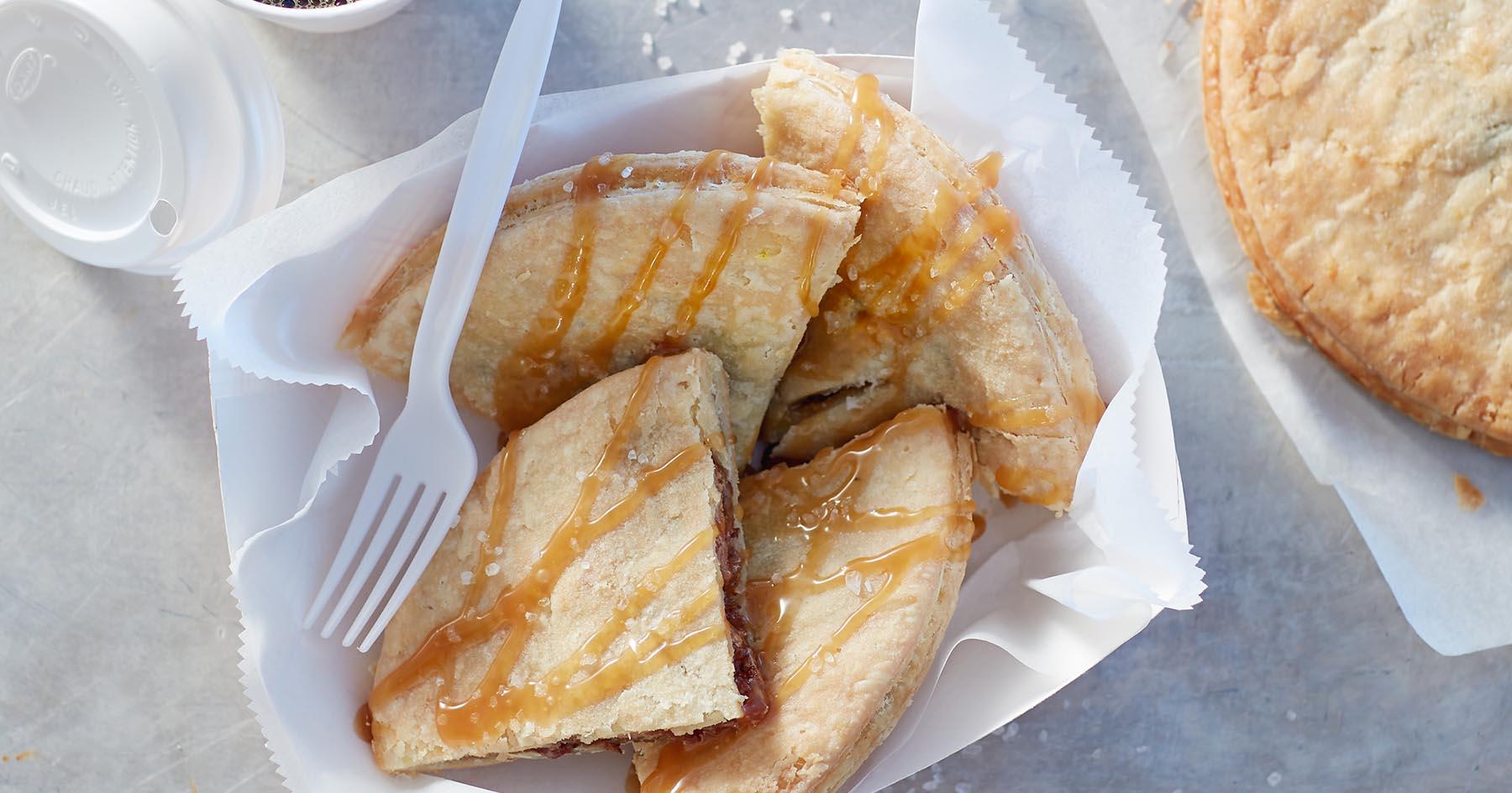 Sea Salt Caramel Bacon Pecan Pies