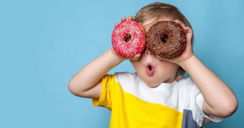 kids with donuts