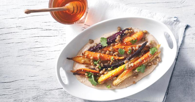 Honey Roasted Carrots with White Bean Puree