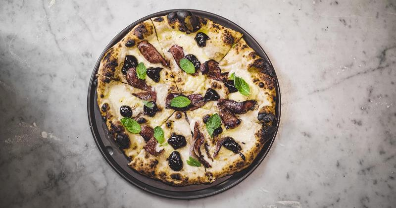 Pizza with Prune Jam, Balsamic-Glazed Bacon and Fresh Mint
