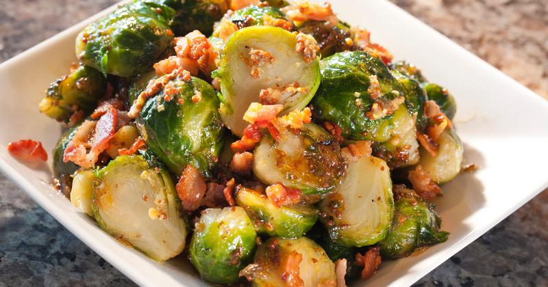 Maple-Caramelized Brussels Sprouts with Whole-Grain Mustard
