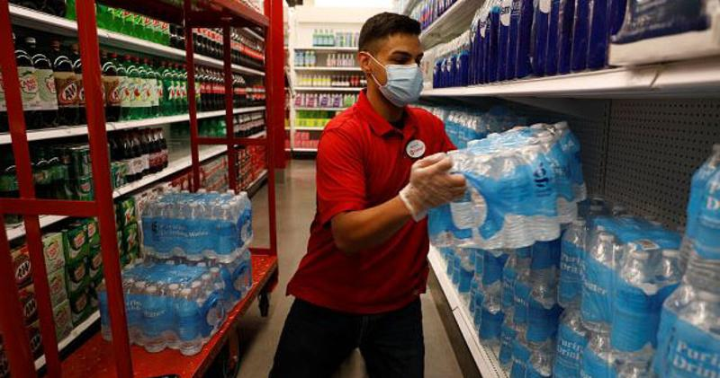 Target employee stocking water