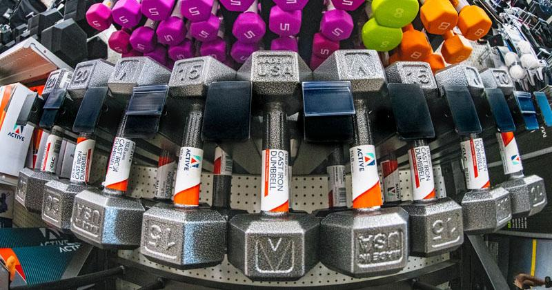 dumbell in-store display