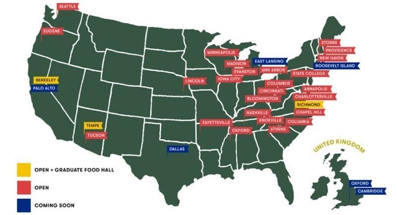 Graduate hotel locations on map