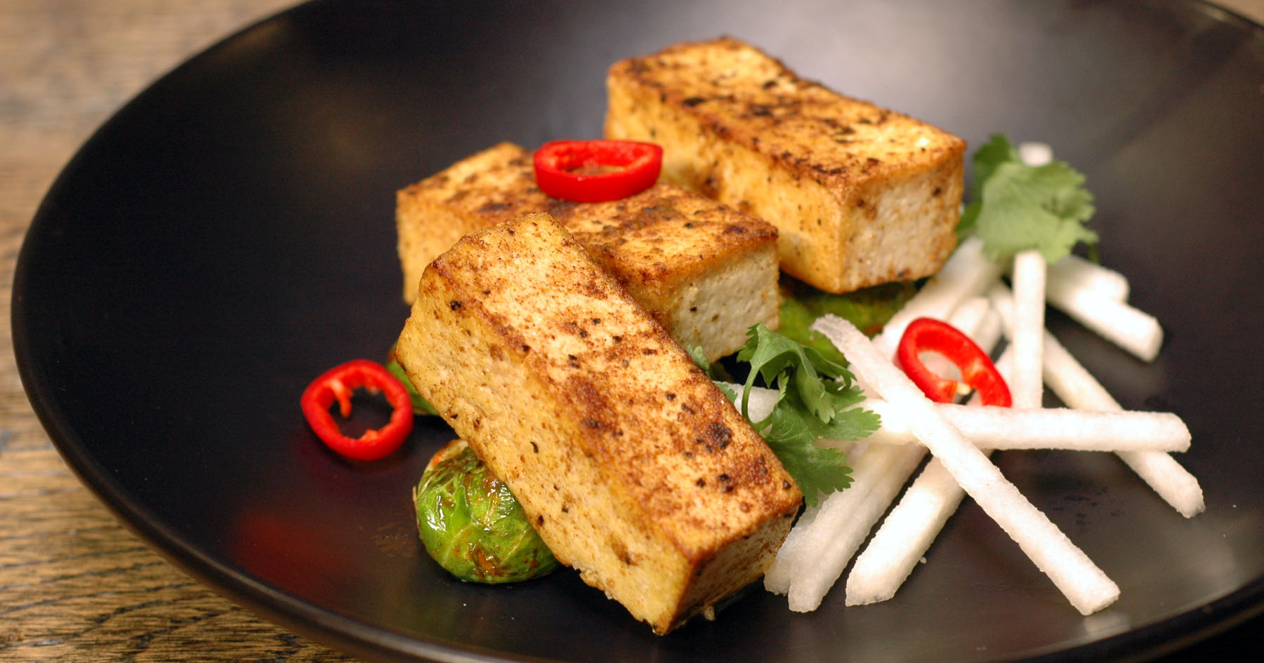 Five-Spiced Tofu with Brussels Sprouts and Thai Basil Black Pepper