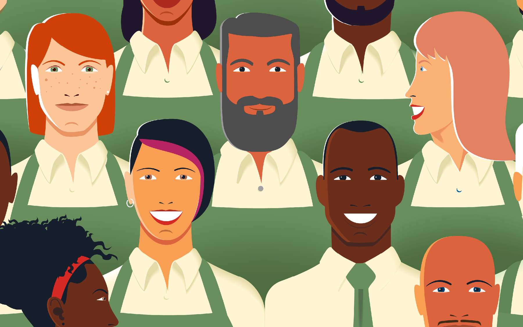 Grocery store workers illustration
