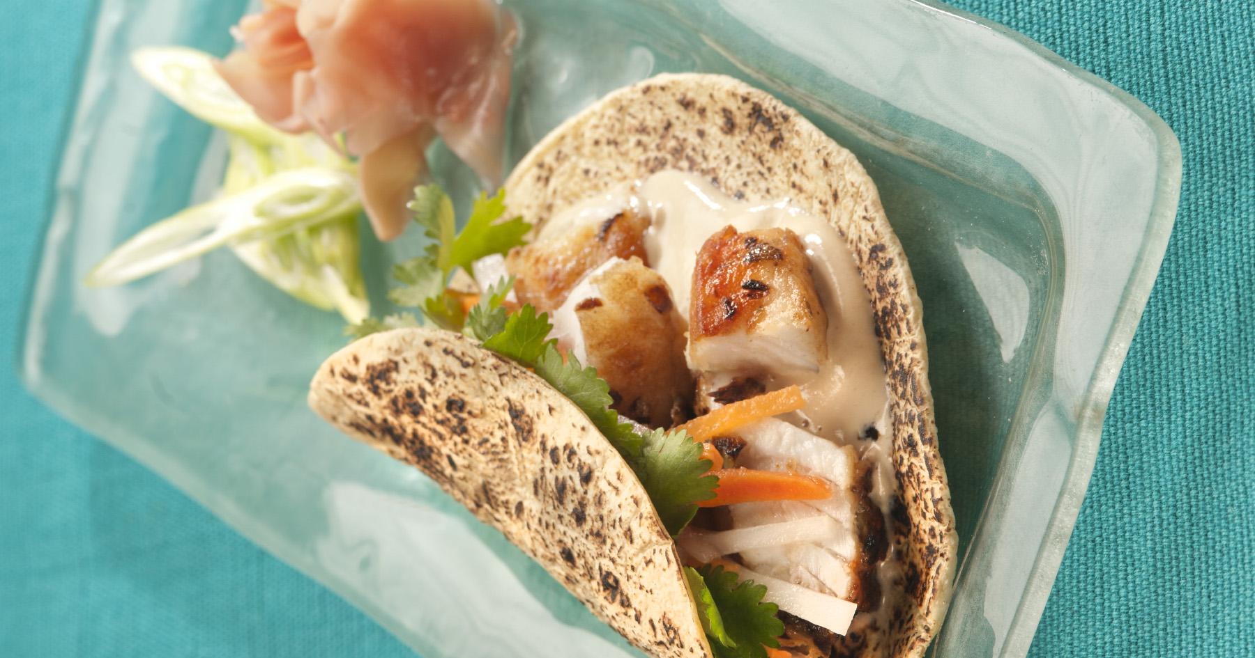 Barramundi Tacos with Asian Slaw & Sesame-Soy Yogurt