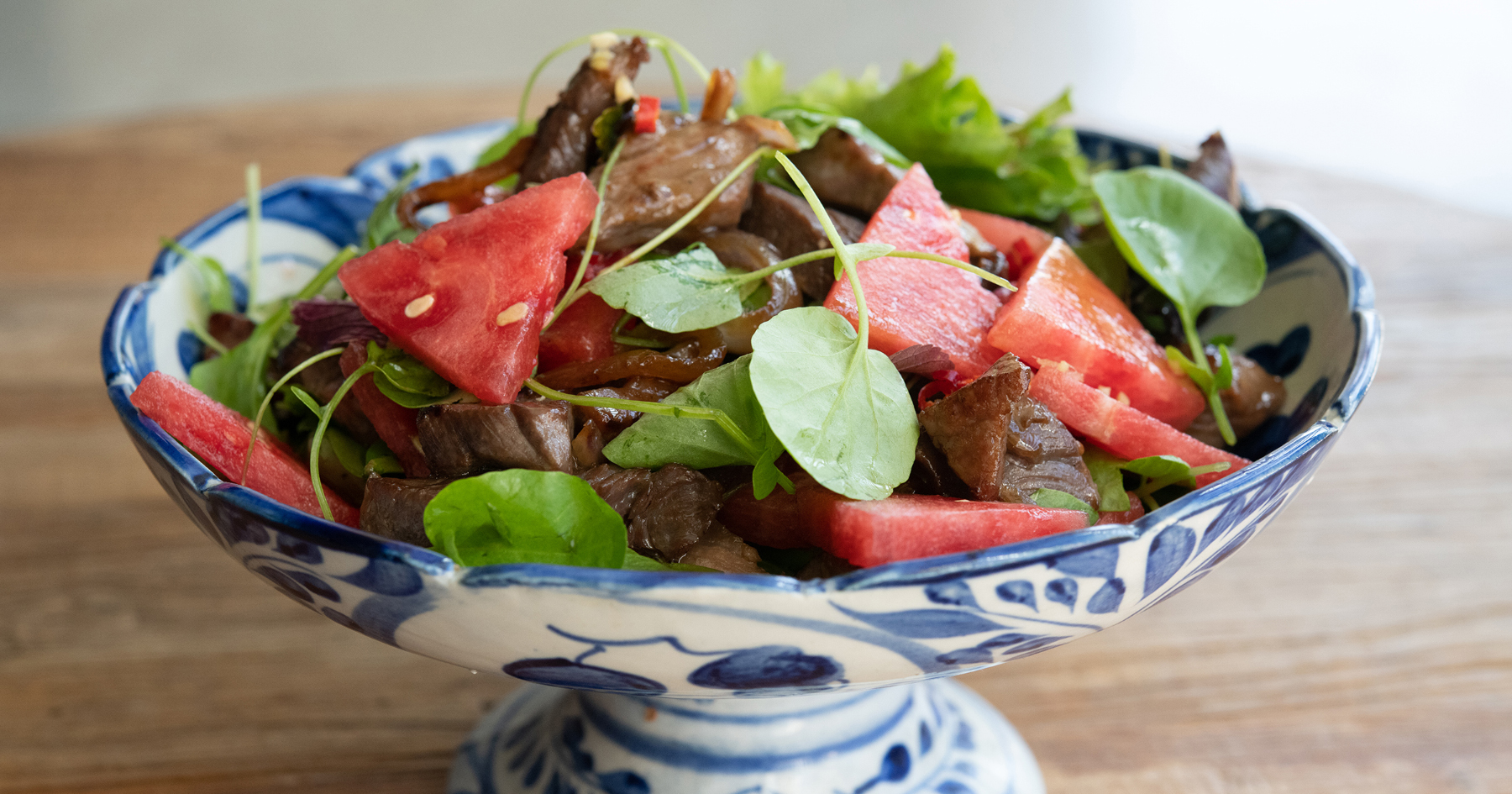 Shaking Beef on Watermelon and Watercress Salad