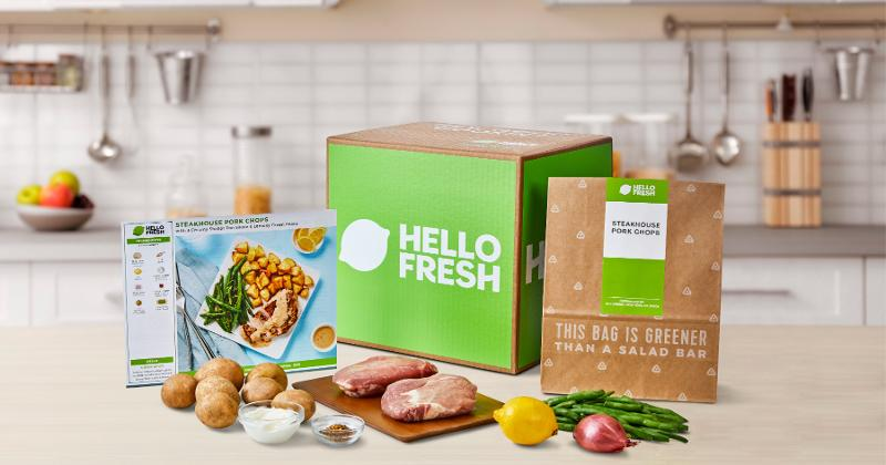 A Hello Fresh meal kit on a kitchen counter