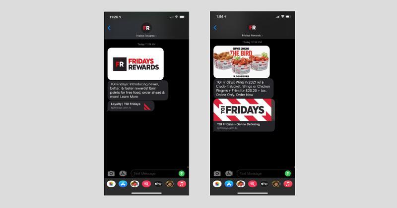 TGI Fridays text messages