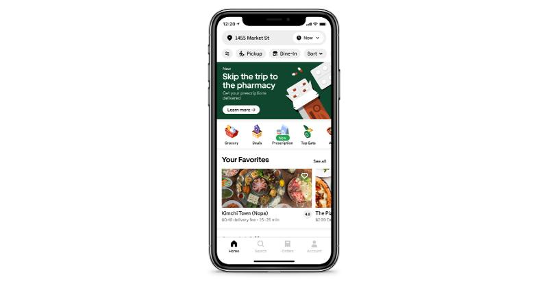 Uber Eats pharmacy delivery app