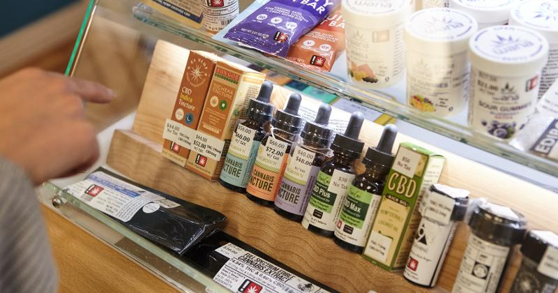Cannabis products in a store