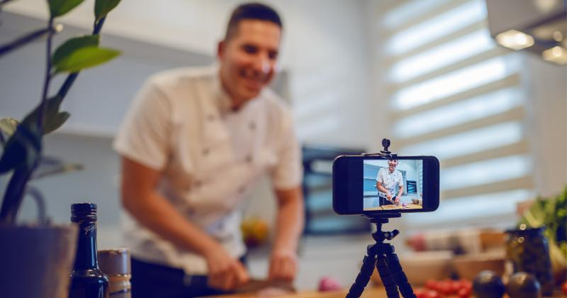 Chef filming himself cooking